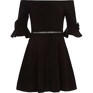 Girls black bow bardot dress