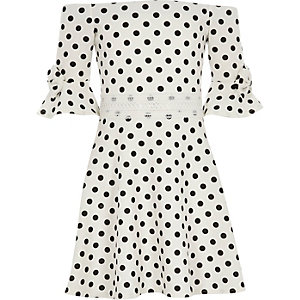 Girls white polka dot bow bardot dress
