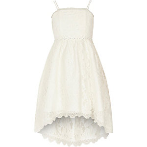 Girls white lace high low flower girl dress