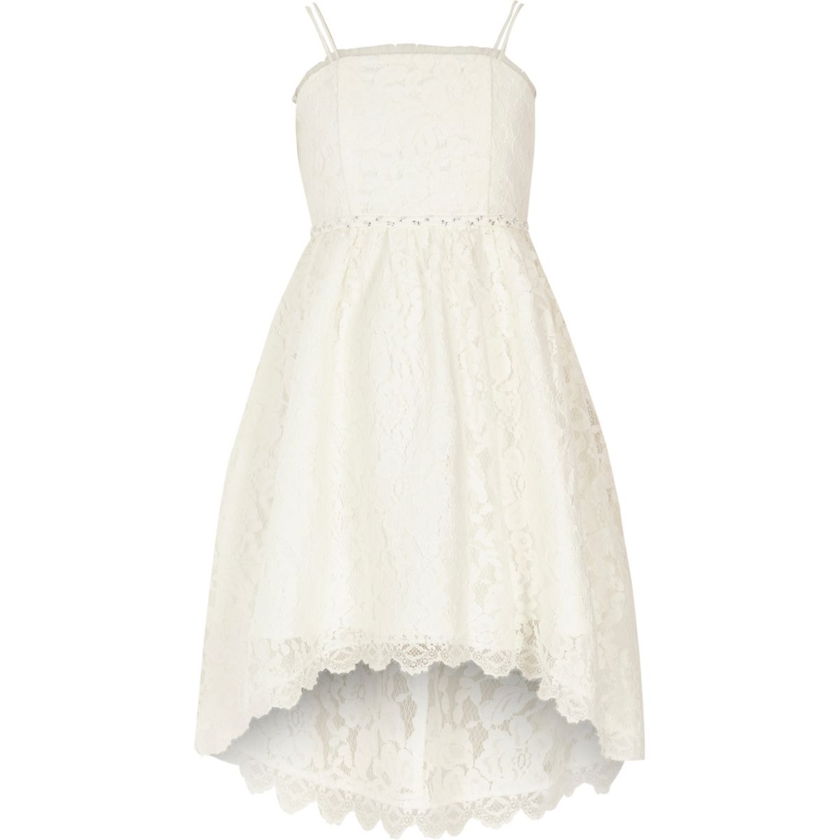 girls white lace high low flower girl dress party