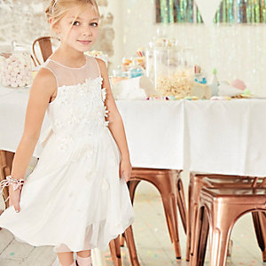 Girls white 3D flower tulle skirt dress
