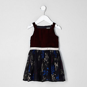 Mini girls dark red velvet embroidered dress