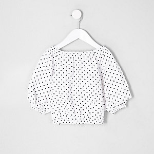 Mini girls polka dot balloon sleeve top