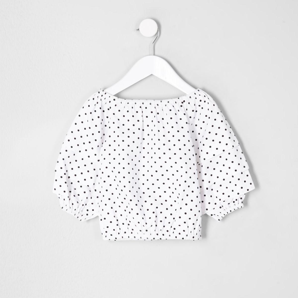 Mini girls polka dot balloon sleeve top