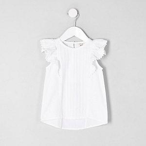 Mini - Witte top met ruches voor meisjes