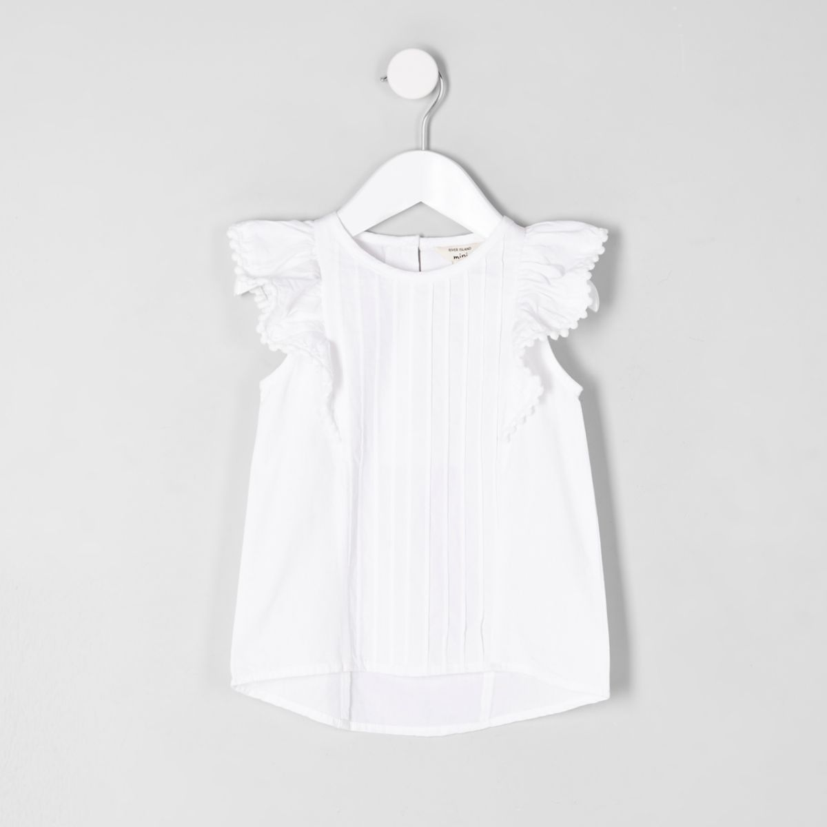 Mini girls white pintuck front frill top