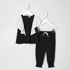 Mini - Outfit met zwarte top met stippen en ruches voor meisjes