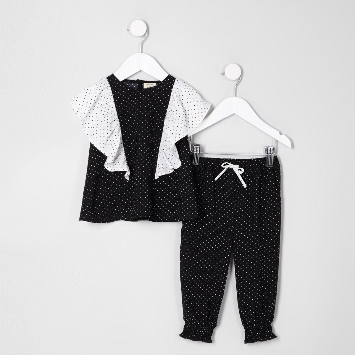 Mini girls black polka dot frill top outfit