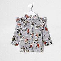 Mini girls white stripe floral frill shirt