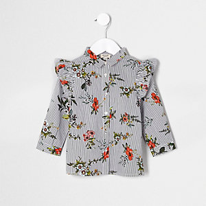 Mini girls white stripe floral frill shirt