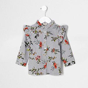 Mini - Wit gestreept overhemd met bloemenprint en ruches voor meisjes
