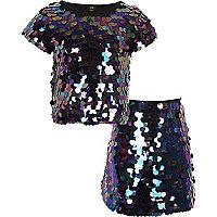 Girls black iridescent sequin T-shirt outfit