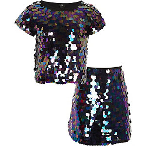 Girls black iridescent sequin T-shirt outfit