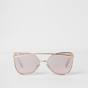 Girls rose gold tone cat eye sunglasses