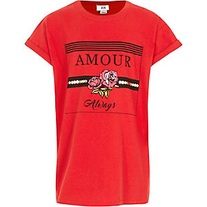 Girls red 'always amour' print T-shirt
