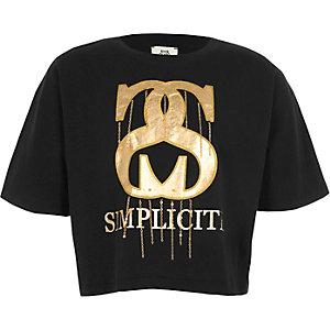 Zwart T-shirt met ketting en 'simplicite'-print voor meisjes