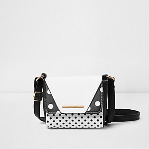 Girls black polka dot mini cross body bag