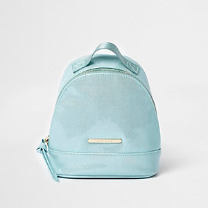 Girls teal blue patent mini backpack