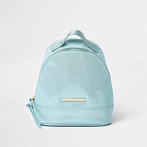 Petit sac à dos bleu sarcelle verni pour fille