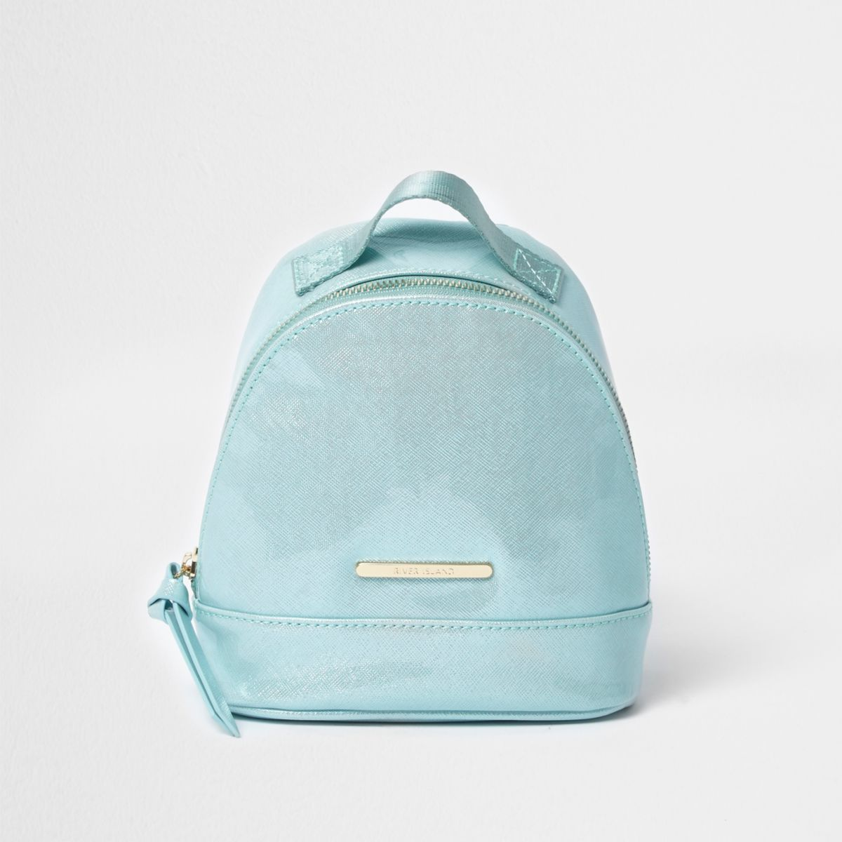 Girls teal blue patent mini backpack
