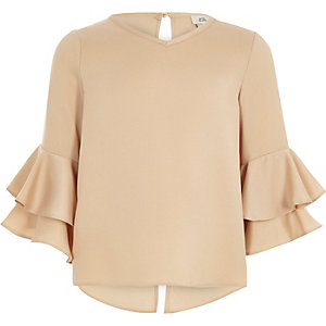 Girls cream ruffle sleeve split back top