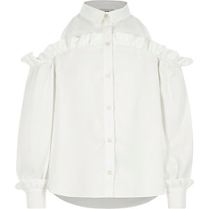 Girls cream frill cold shoulder shirt
