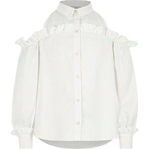 Girls cream frill cold shoulder shirt