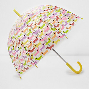 Gelber Regenschirm mit Hundemotiv