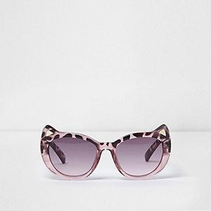 Lunettes de soleil œil de chat motir écaille de tortue roses mini fille