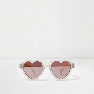Mini girls silver glitter heart sunglasses
