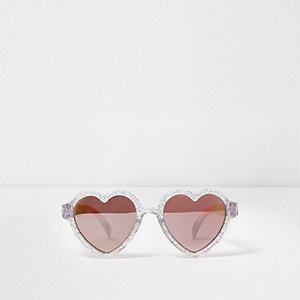 Lunettes de soleil argentées en forme de cœur à paillettes mini fille