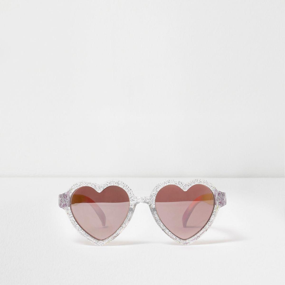 Mini girls silver glitter heart sunglasses