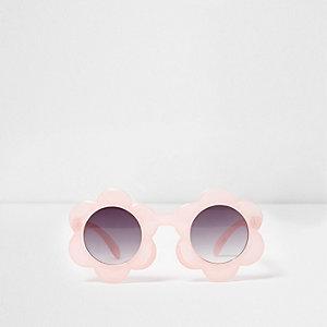 Lunettes de soleil roses à monture fleurs mini fille
