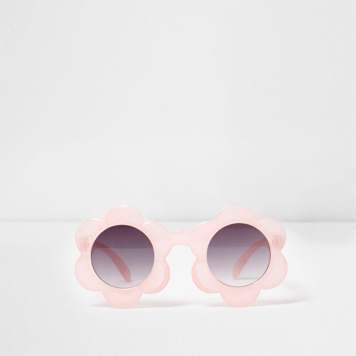 Mini girls pink flower frame sunglasses
