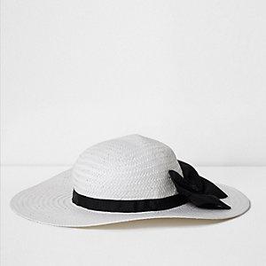 """Weißer Strohhut """"J'adore couture"""""""