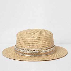 Girls beige straw metallic trim boater hat