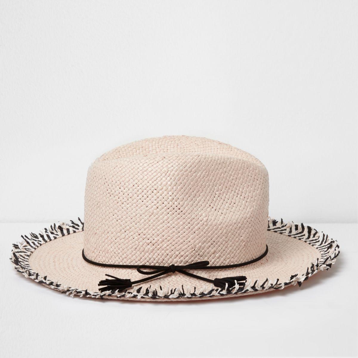 Girls pink frayed edge fedora hat