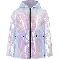 Girls purple iridescent rain mac