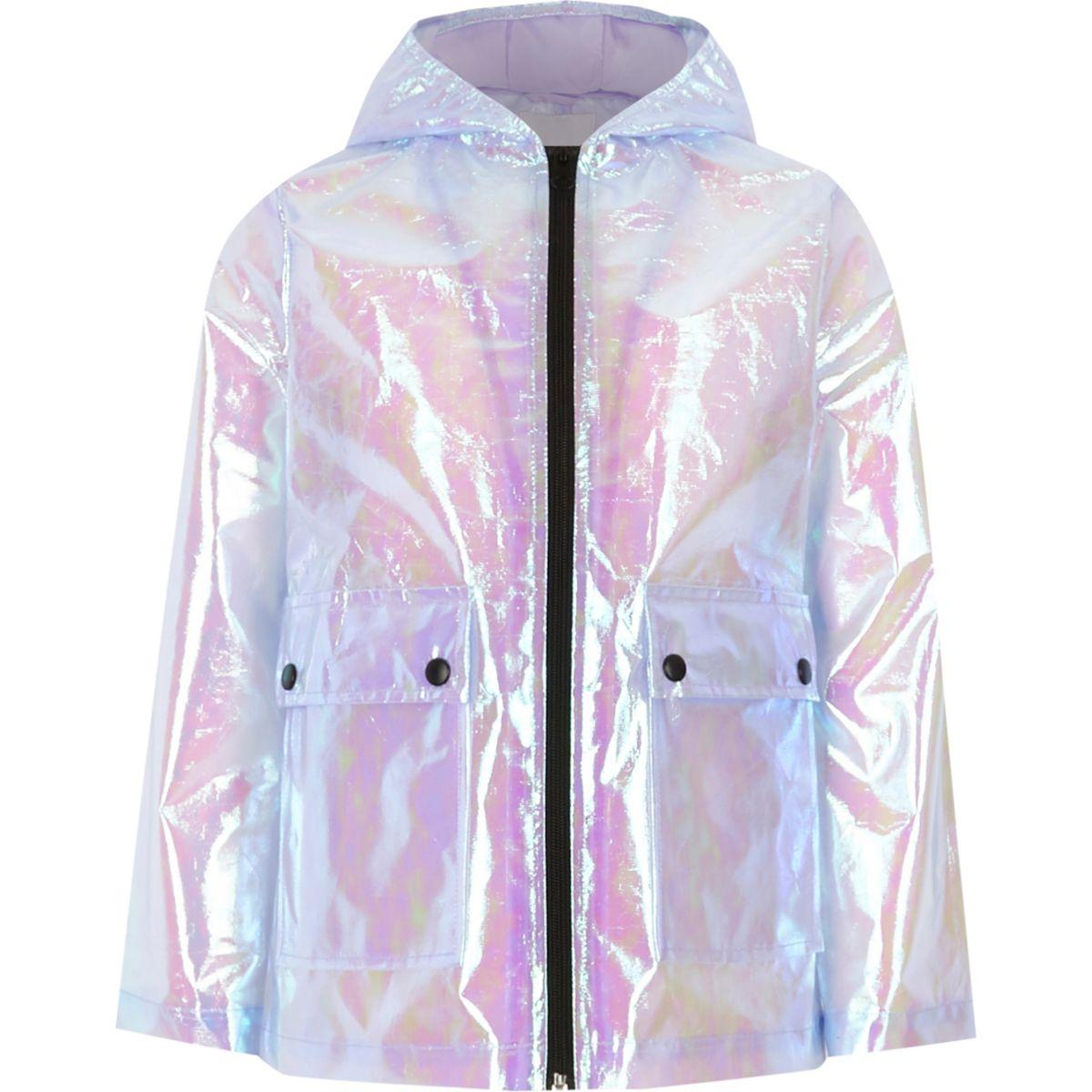 Girls purple iridescent rain mac