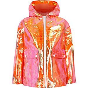 Girls orange iridescent rain mac