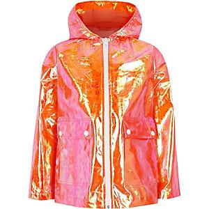 Girls orange iridescent rain mac