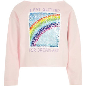 Girls pink reversible sequin sweatshirt