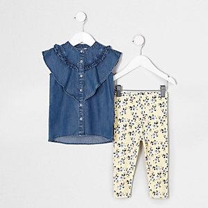 Mini - Blauwe denim top met ruches en legging voor meisjes