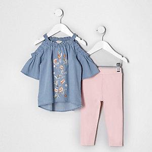 Mini - Outfit met blauwe geborduurde denim top voor meisjes