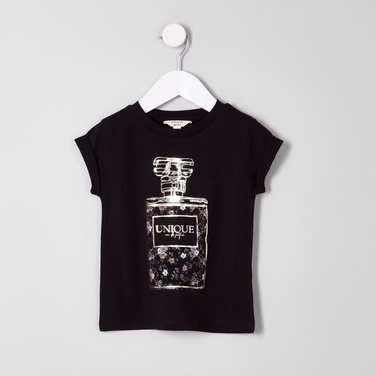 Mini girls black foil perfume bottle T-shirt