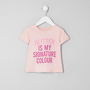 Mini girls pink 'glitter' T-shirt