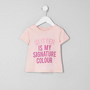 Mini - Roze T-shirt met glitter voor meisjes