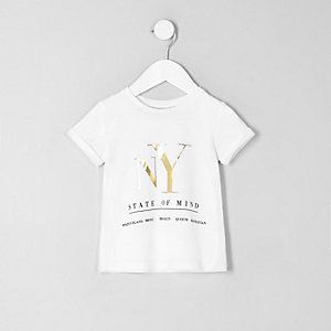 Mini girls white 'NY' foil print T-shirt