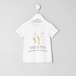 T-shirt imprimé «NY» métallisé blanc mini fille