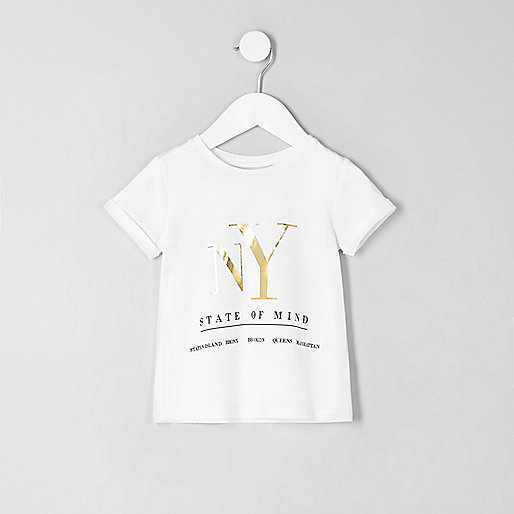 Mini girls white 'NY' foil print T-shirt
